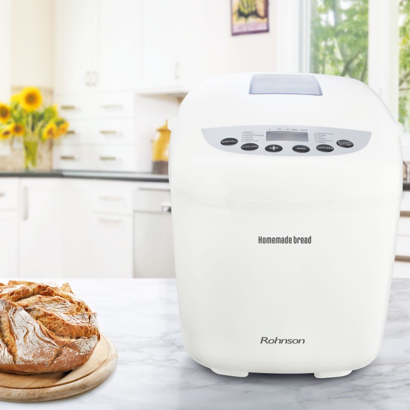 Masina de paine Rohnson R-2099, 12 programe automate, 2 carlige framantare, capac. 1200g,  afisaj LED, keep warm 60`, 3 grade de coacere crusta, functie coacere gluten free, alarma sonora coacere, capac fereastra, functie pornire 13h,