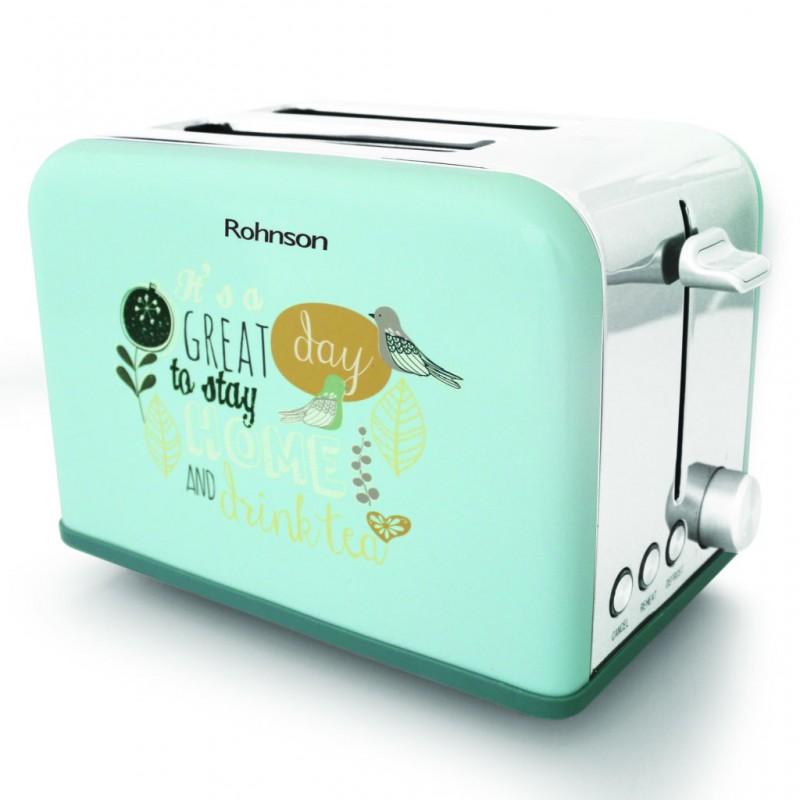 Prajitor de paine Retro Rohnson R-2160 Nostalgia 815W, otel inoxidabil, doua sloturi paine, 6 trepte de coacere, buton reincalzire, functie prajire paine congelata, indicator luminos rosu, centrare automata incalzire uniforma, tavita firimituri