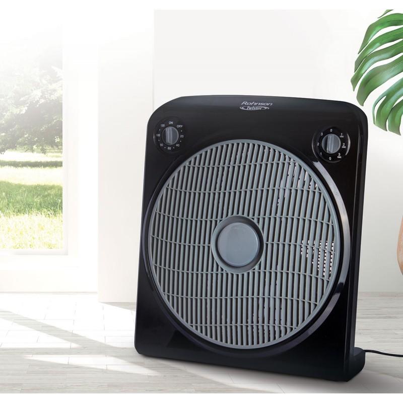 Ventilator de podea Rohnson Twister R – 8200, putere 50W, 30cm diametru, 5 lame, temporizator 120h,  grill protectie, 3 trepte viteza, functie rotire, nivel redus de zgomot, maner integrat