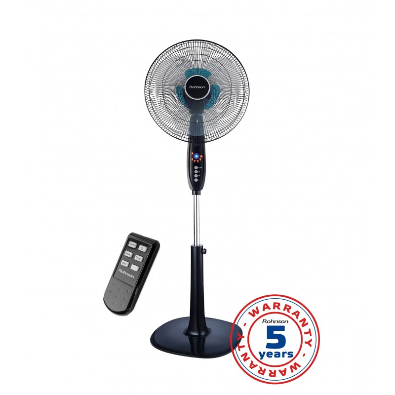 Ventilator cu picior Double Blade Rohnson R – 838, putere 60W, 40cm diametru, 6 lame(3+3), grill protectie, 3 setari viteza in 3 moduri,  telecomanda multifunctionala, LED, timer 7.5h, oscilare 90 ͦ, inaltime si inclinare reglabile, baza stabila