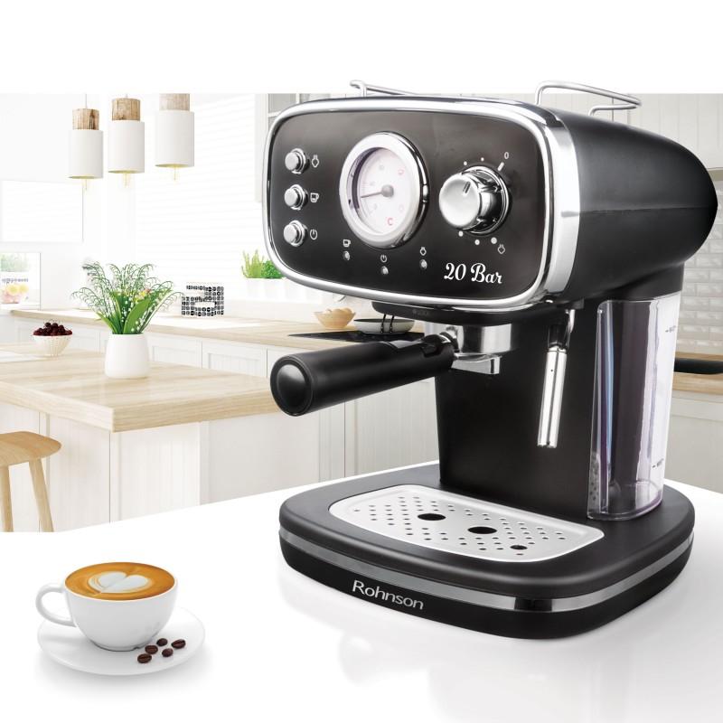 Espressor de cafea Vintage Rohnson R985, presiune 20BAR, putere 1100W, filtru dual creme, rezervor 1.2L, indicator presiune, sistem ERP, spuma cu presiune puternica, indicator temperatura, sistem protectie