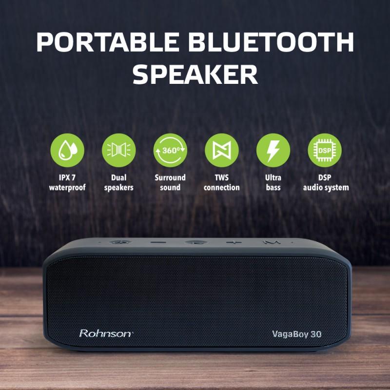 Boxa Wireless Rohnson VagaBoy RS1030 30W, 2 difuzoare, AUX -IN slot card micro SD 64GB, Bluetooth ≥18 m, cablu incarcare USB-C, tehnologie subwoofer TWS, protectie apa, fisiere MP3 / APE / FLAC / WMV / WAV, timp ascultare 12h, freq. 18.000 Hz
