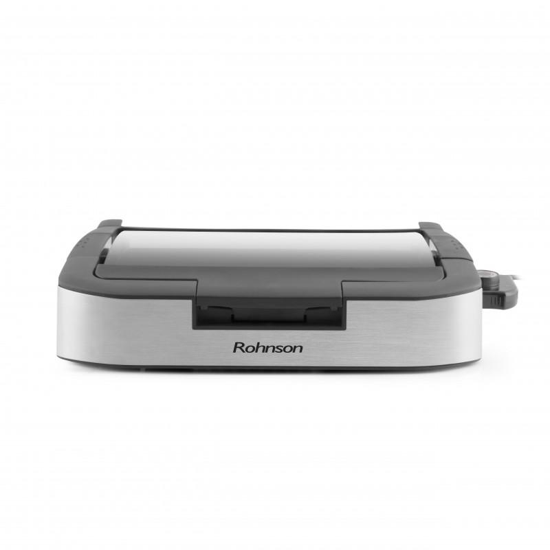 Table Grill Barbeque portabil cu capac Rohnson R2550, 1800W, 5 niveluri control temperatura, capac sticla rezistenta la caldura, placi detasabile invelis marmura, tavita35x24 cm, baza anti-alunecare, maner izolat termic