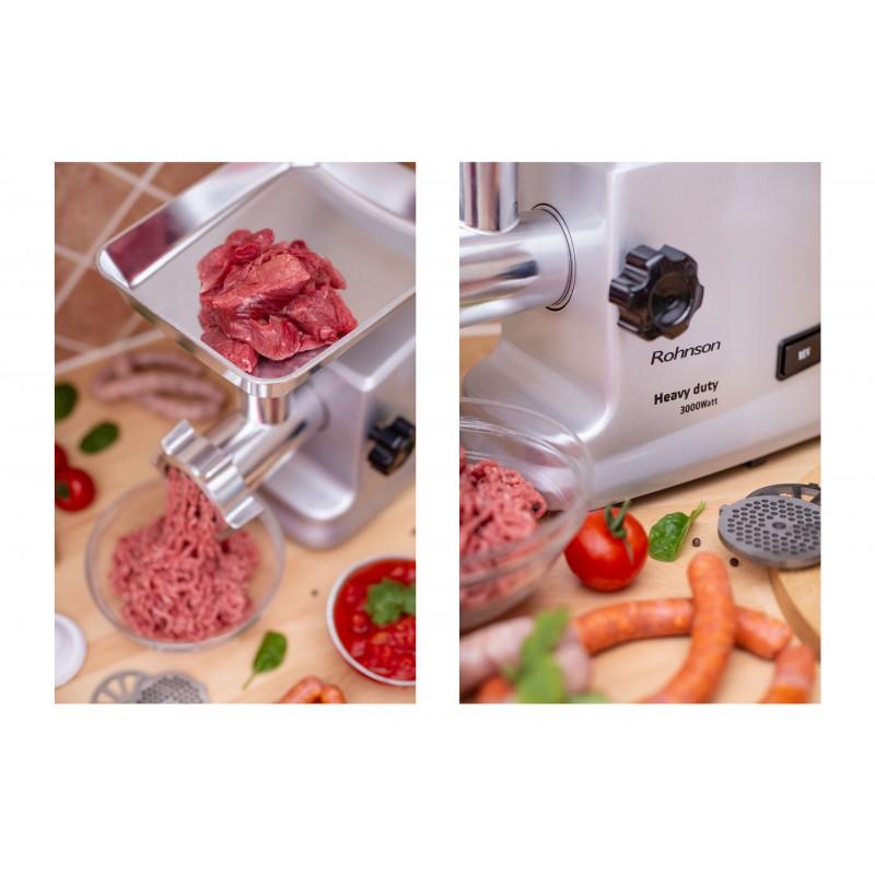 Mașină de tocat carne R-5430 Heavy Duty, 3000W, capacitate tocare 2.5kg/ min, accesorii pentru rosii, carnati, kibbe, functie reverse, 3 site metalice, bol din aluminiu cu accesoriu de impingere, corp din aluminiu