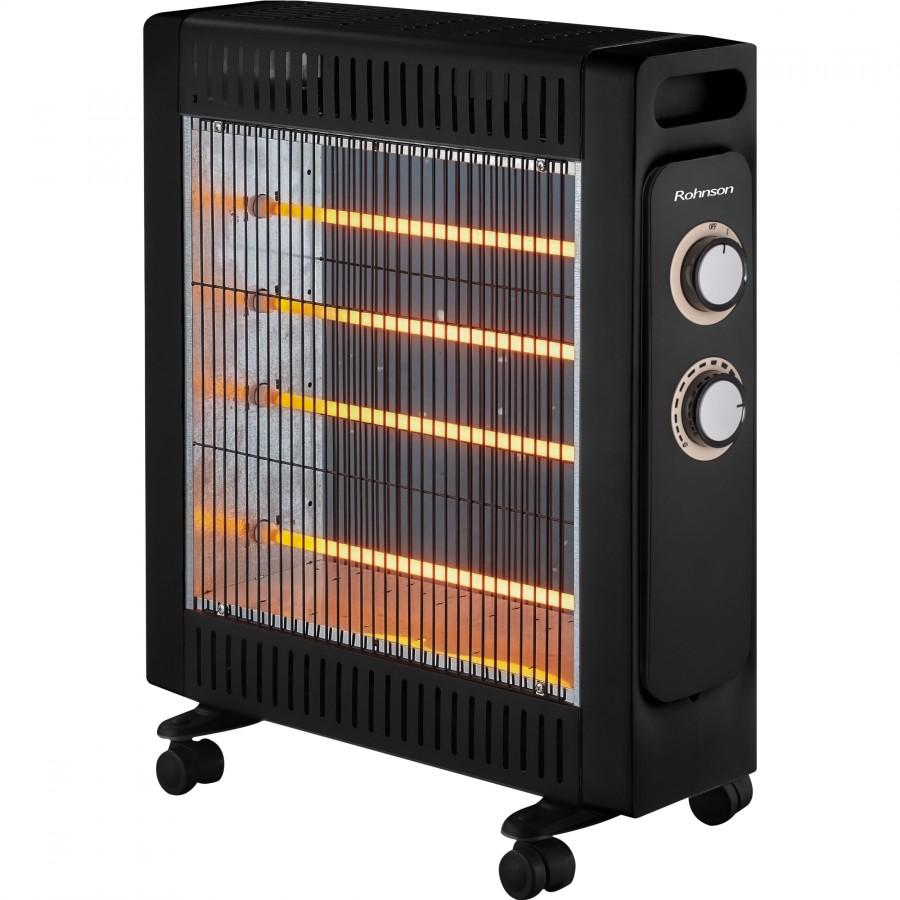 Radiator cu quartz Rohnson R8013, 2200 W, 4 tuburi quartz, termostat reglabil, 2 setări de temperatură (1100/2200W), sistem de oprire de siguranta, NEGRU