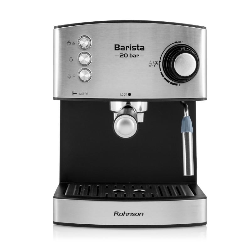 Espressor Barista Rohnson R986, putere motor 850W, presiune 20BAR, rezervor apa 1.6L, filtru dublu din otel